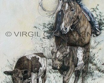 Texas Longhorns, Bringing Up The Drags, print from the original oil painting of a little cowgirl bringing up the drags, cattle drive