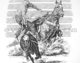 Calf Roping, drawing of rodeo cowboy calf roping at the rodeo, western cowboys, western drawing