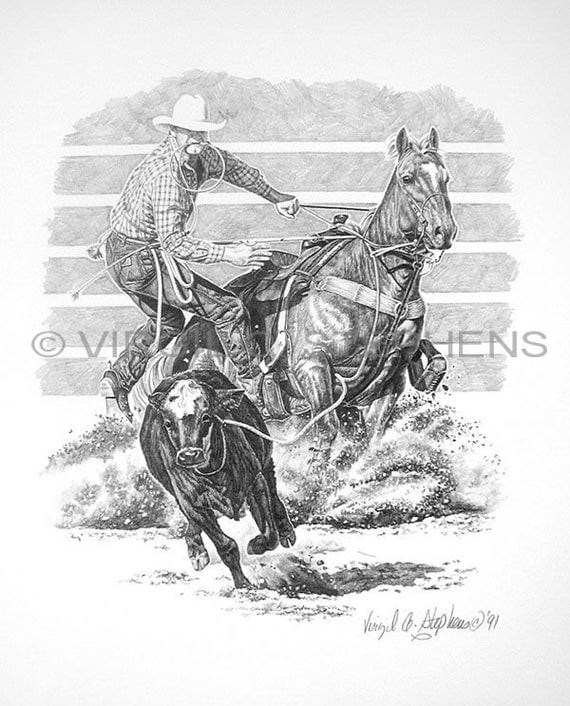 Calf Roping Calf Roping Drawing of Rodeo