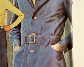 Vintage 1970s Men's Jacket and Pants Pattern