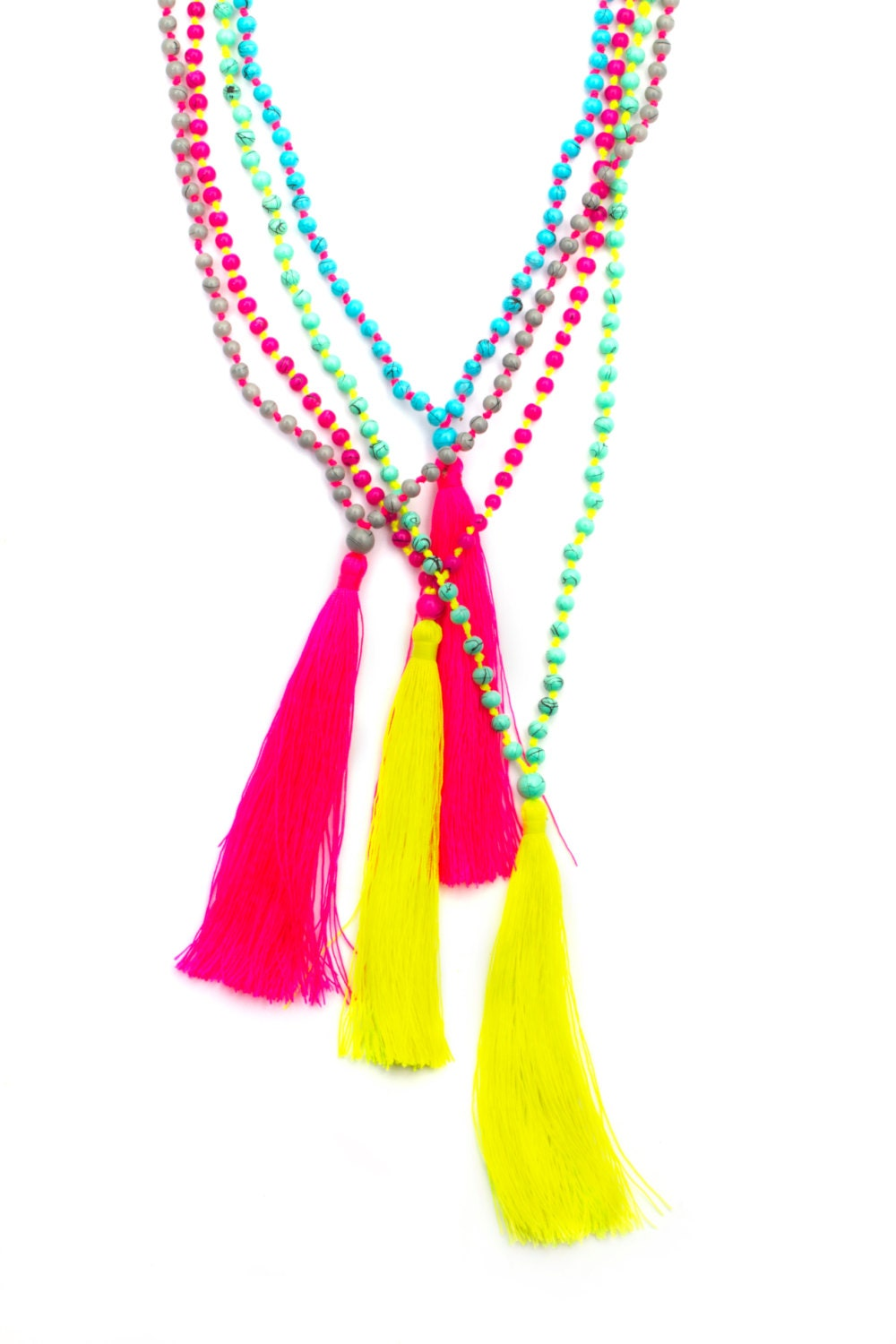 long tassel necklace japanese glass beads colorful by. Black Bedroom Furniture Sets. Home Design Ideas
