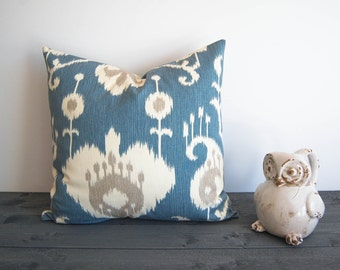 Ikat decorative throw pillow cover one Yacht Blue Ikat cushion cover