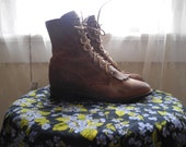 Vintage Brown Leather Lace Up Justin Roper Boots, Brown Ankle Boots Womens Size 6 B