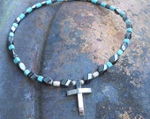 Steel Cross on Hematite and Turquoise Necklace By Karl