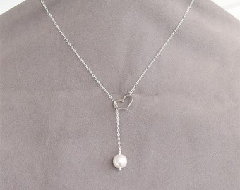 SALE Heart Pearl Necklace - Heart and Pearl Lariat - Silver Heart Necklace - Simple Wedding Jewelry, Bridesmaid Jewelry, June