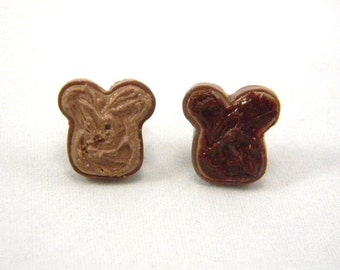 Peanut Butter and Chocolate Hazelnut Post Earrings, PB&J, Food Jewelry