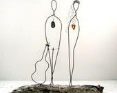 Wire Sculpture Driftwood Wire Art Flower Power Peace Sign Sculpture Wedding Gift