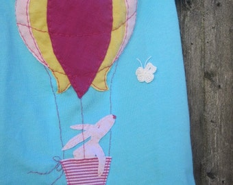 Fly Me Away Hot Air Balloon and Bunny Girls T Shirt
