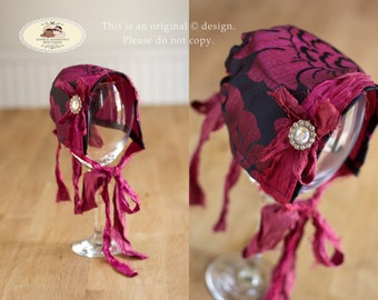 Newborn Baby Bonnet Hat (size adjustable) Girls Vintage Style fabric Bonnet Hat with Silk Sari Ribbon Ties. Newborn Photo Prop. UK Seller