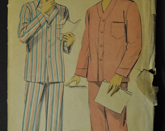 Men's Pajamas Three Styles Size 38-40 Vintage 1950s Sewing Pattern Advance 5878