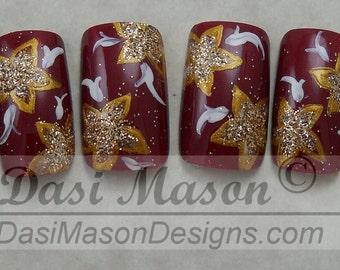 Moroccan Red and Gold Floral Instant Acrylic Nail Set