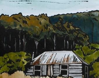 Tasmanian Settlers Cottage Handcoloured Lino Print