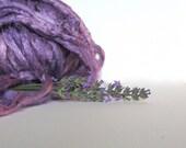 1 oz (28 g) Mulberry Silk Top Roving Fiber LIGHT LAVENDER - Hand dyed
