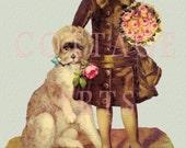 Digital Download 'Victorian Boy With Dog' Antique Die Cut Victorian Scrap Graphic Image