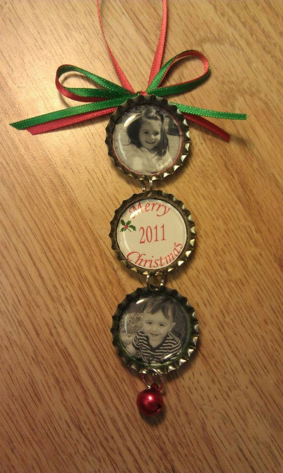 personalized christmas bottle cap ornament 2 children