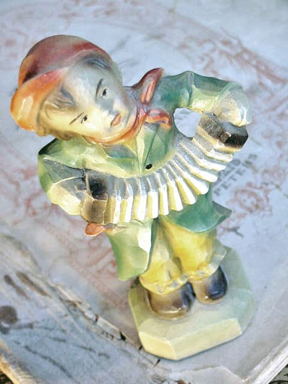Vintage Accordion Boy Hummel like Figurine Carving - Syroco Wood 1950 s