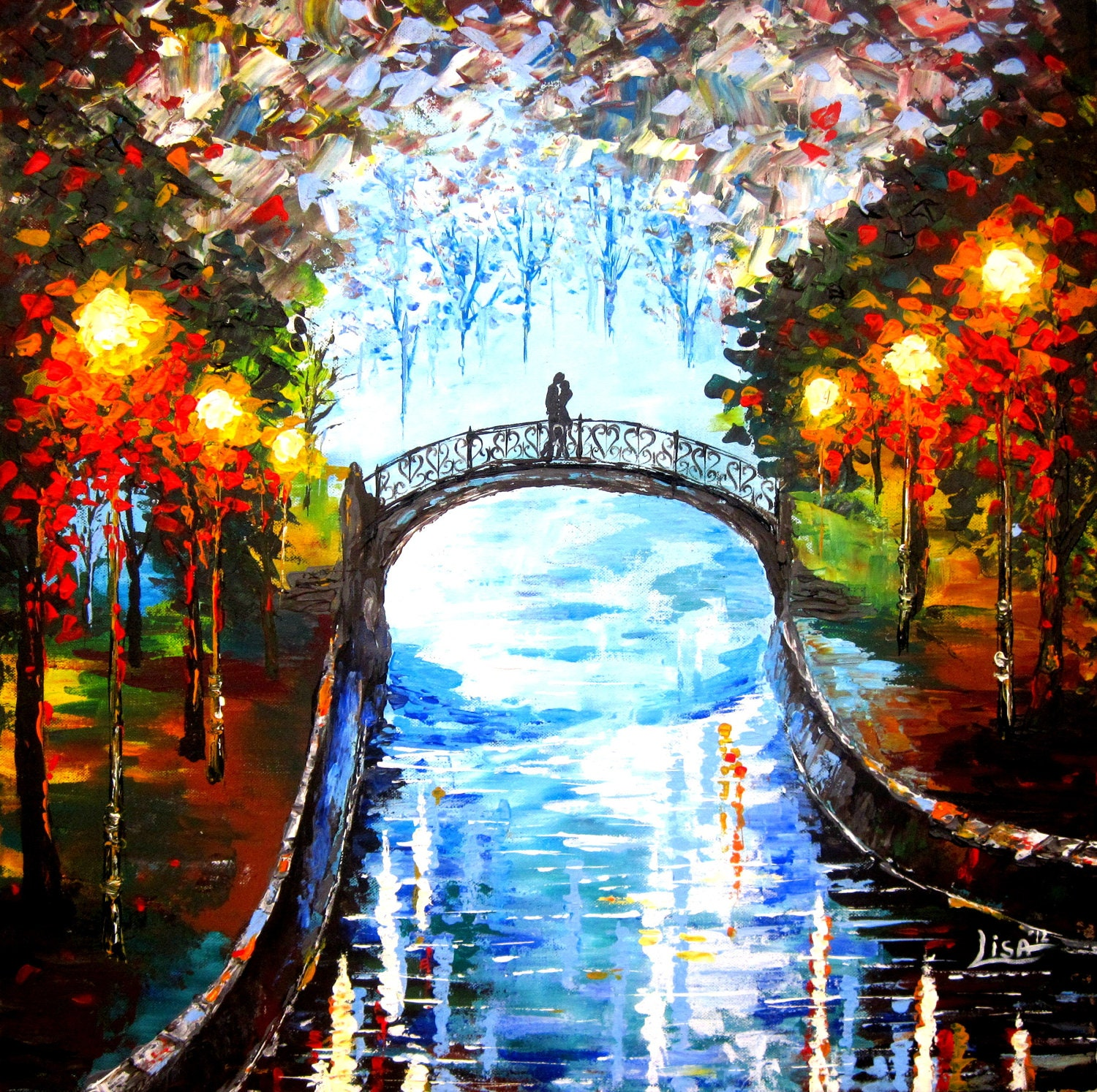Original Painting A Couple On The Bridge River Rain Acrylic