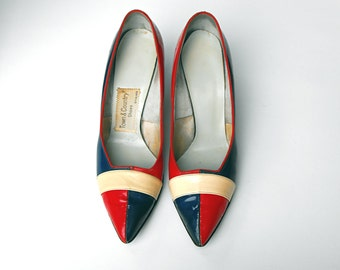 1950's Rare Town & Country Red, White, and Blue Patriotic High Heel Striped Pumps Victory Swinging London French American British Flag Shoes