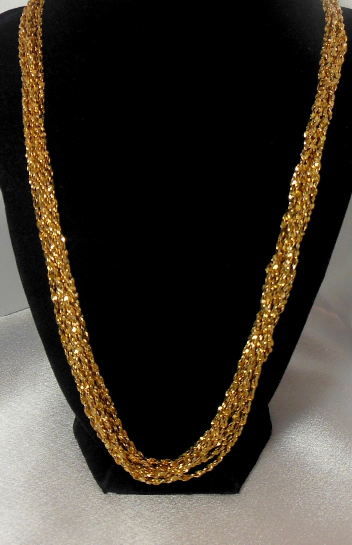 vintage monet necklace muti layer gold chain