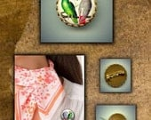 Brass Brooch PARROTS African Grey and Amazon birds hand pressed on flat metal button CABOCHON