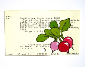 Radishes Library Card Art - Print of my painting of radishes on a library card for the book The Edible Indoor Garden