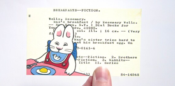 Max on Library Card - Max and Ruby - Max's Breakfast by Rosemary Wells - Print of painted library card