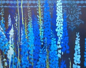 Blue fliwer painting-- Delphinium Field