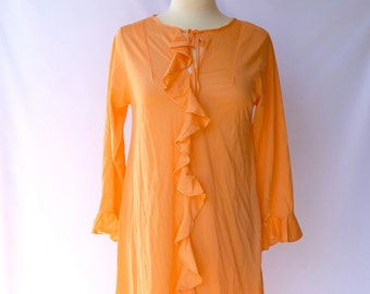 Vintage 70s Maxi Nightgown / Negligee --  Pastel Orange Sherbet -- Bust 36