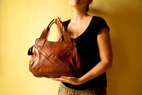 Vintage Leather handbag Brown bag Made in Italy from Tuscany