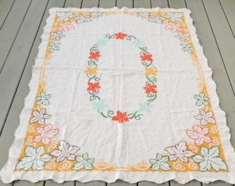Mid Century Cross Stitch Tablecloth Turquoise Orange Yellow Leaves Vintage