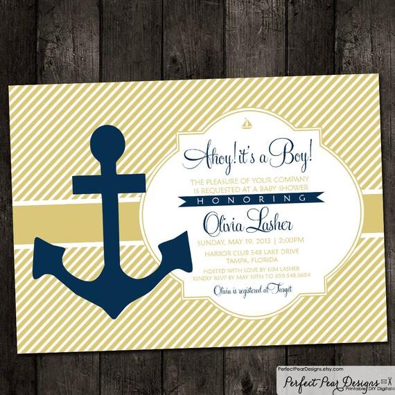 baby shower invitation nautical ahoy it 39 s a boy anchor boat theme