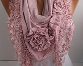 Pink Scarf Rose Scarf - Shawl Scarf - Cowl Scarf Lace Scarf - Triangle Scaf -Women's Fashion Accessories Best Selling Scarf- DIDUCI