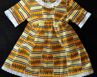 Cute dress from African Kente, Rasta-Colours, size 1 yrs