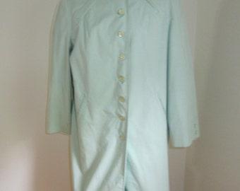 Vintage Pier 4 60's A-Line Mod Mint Green Cropped Women's Knee Length Raincoat M L