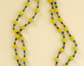 Yellow Blue and Amber Glass Bead Necklace 1920s Vintage