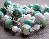 Green Agate and White Pearl Necklace, all Pure Sterling Silver,  Classic and Timeless British Style