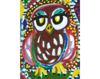Animal Art Print, Owl Art, Children's Room Art, Art For Kids, GIrl's Room Decor, Owl Wall Art, Nursery Decor, Speckled Owl  by Paula DiLeo