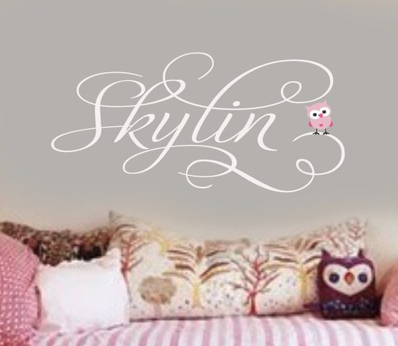 Personalized GIrls Name Wall Decal with little baby owl Vinyl