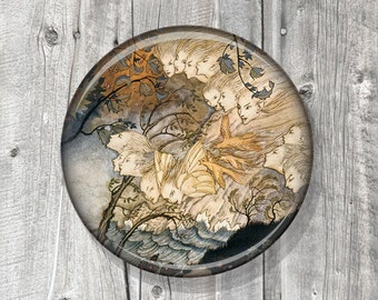 Pocket Mirror - Photo Mirror - Rackham - Tempest - Winter - Compact Mirror Vintage Illustration - gift under 5 - party favor A03