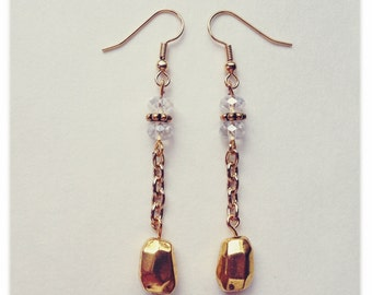 Whimsical Gold and Crystal Earrings