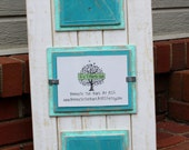 5x7 Triple Picture Frame - Distressed Wood - Holds 3 - 5x7 Photos - White, Seafoam and Aqua