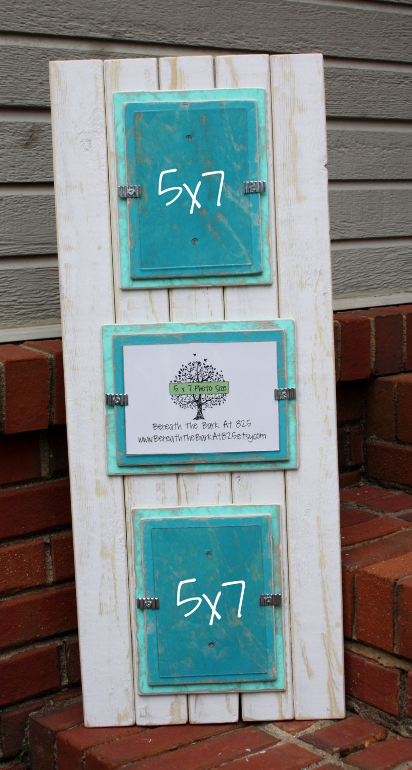 5x7 triple picture frame distressed wood holds 3 5x7. Black Bedroom Furniture Sets. Home Design Ideas