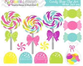 INSTANT DOWNLOAD,  candy shop clip art or lollipop clipart for personal and commercial use