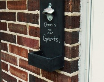 Chalkboard wall mounted bottle openers with cap catcher