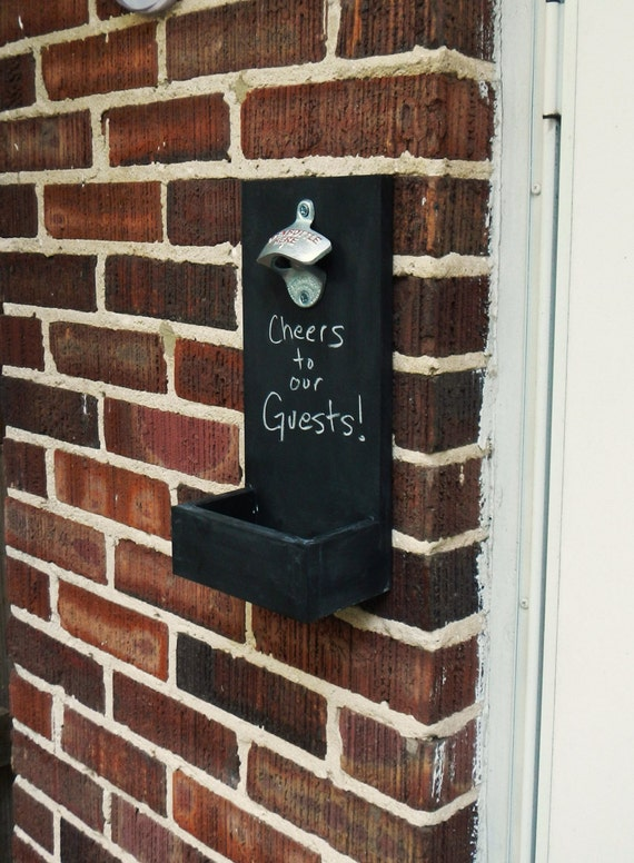Chalkboard Wall Mounted Bottle Openers With Cap Catcher