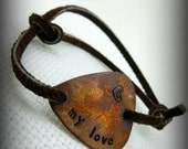 "Hand Stamped & Antiqued Copper Guitar Pick Bracelet - ""My Love"" - Womens Great Gift!"