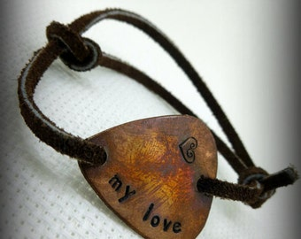 "Guitar Pick Bracelet - ""My Love"" - Hand Stamped & Antiqued Copper"