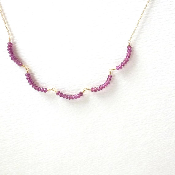garnet necklace dainty jewelry gold filled by littleappleny