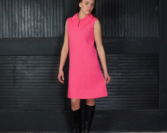 CLEARANCE SALE Under 35 Mod Pink Mini Go Go Dress Small Medium 1960s Sleeveless Back Belt Cute Neck Details Textured Polyester Tailor Made