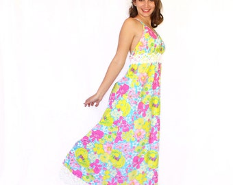 60s Lilly Pulitzer Dress. The Lilly Maxi Summer Dress. Twee Dress. Neon Floral Print in Hot Pink, Yellow, Turquoise. Mad Men. Beach Wedding.